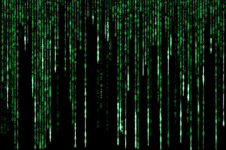 falling down: green matrix falling down on black background