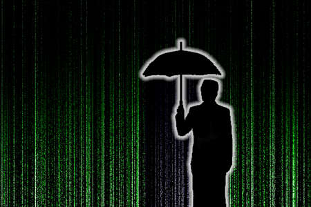 appeared: Silhouette of businessman who is appeared with umbralla through the green matrix rain background, security concept