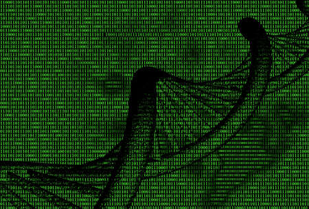 decipher: green binary code with dna molecule, technology background