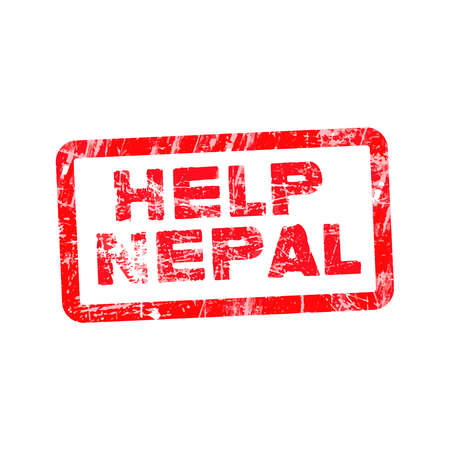 devastating: Grunge red rubber stamp with text Help Nepal