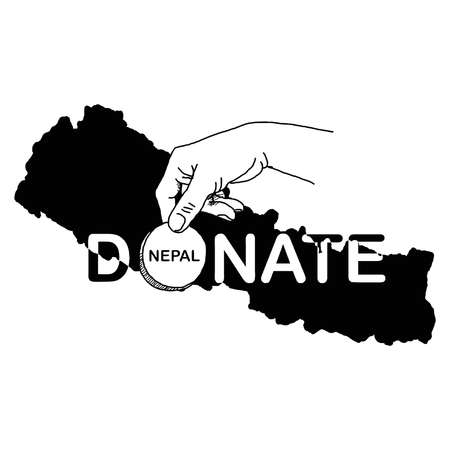disaster relief: hand holding coin with the word DONATE and black Nepal map in the background