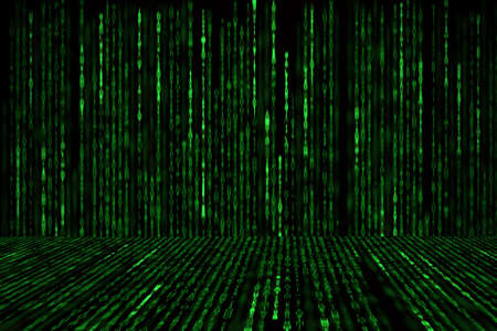 encoded: Matrix background with the green symbols, perspective concept