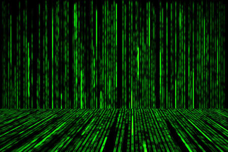 green matrix background with the green symbols, perspective concept