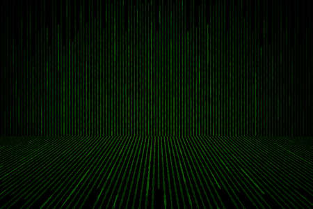 binary matrix: Matrix background with the green binary code, perspective concept Stock Photo