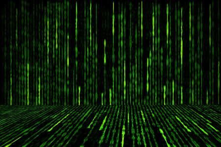 digital green matrix generated on black background, perspective concept 写真素材
