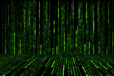 digital green matrix generated on black background, perspective concept Stockfoto
