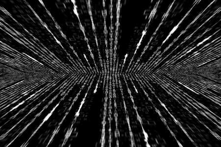 matrix code: white matrix code generated on white background, perspective with radial blur Stock Photo
