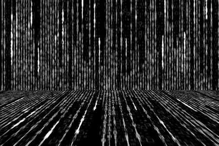 matrix code: white matrix code generated on white background, perspective concept