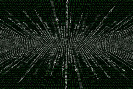 binary matrix: white matrix on the background of green binary code, perspective with radial blur