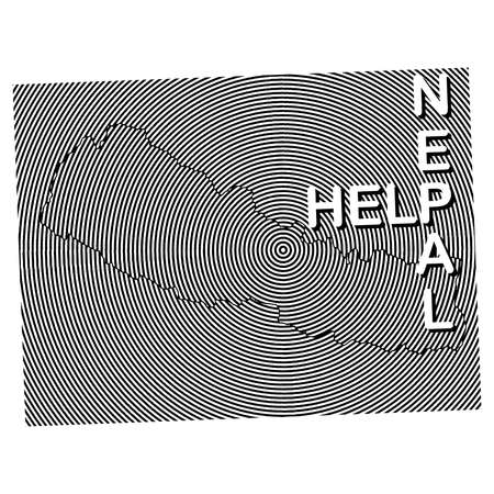 Nepal Charity POSTER. Help Nepal. earth quake location highlighted around map with black and white curve lines