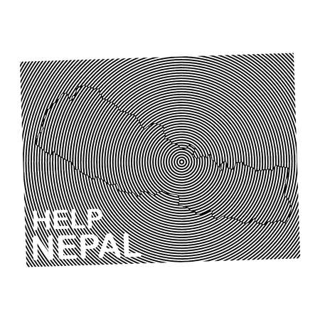 seismic: Nepal Charity POSTER with the white word Help Nepal. earth quake location highlighted around map with black and white curve lines
