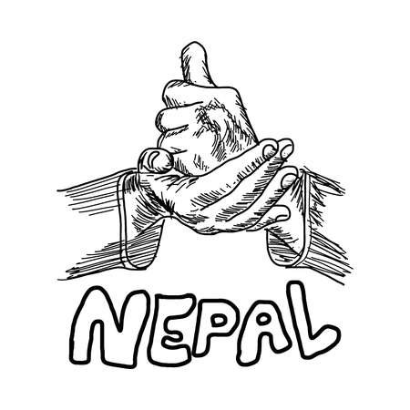 disaster relief: hand sign for HELP with the word NEPAL under it, handdrawn vector illustration Illustration