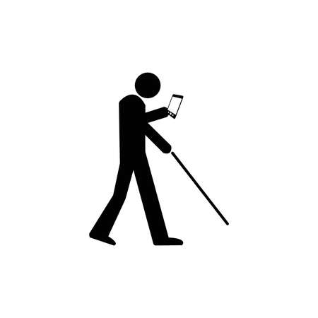 vector illustration an using smartphone or tablet Icon Symbol Sign Pictogram mixed with blind sign. concept smartphone makes people blind.
