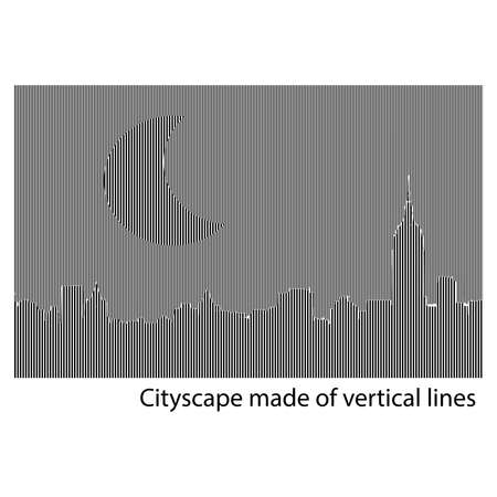 construction firm: Building and City vector Illustration at night, City scene on night time, Urban cityscape made of vertical lines