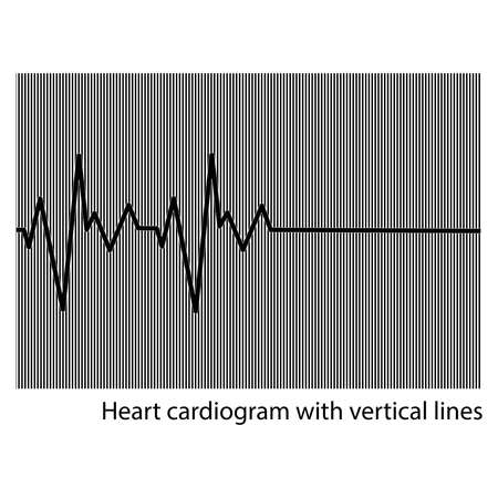 cardioid: illustration vector black heart cardiogram on the background of vertical lines Illustration