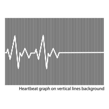 cardioid: ilustración vectorial corazón blanco cardiograma en el fondo de líneas verticales