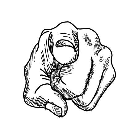 need direction: vector illustration retro black hand drawn style hand pointing finger at viewer on white background