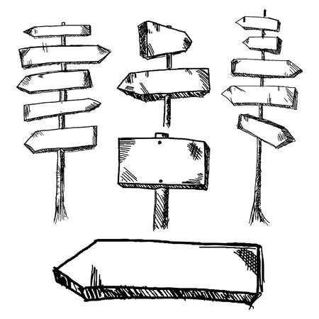 flecha direccion: Dibujado a mano las señales de tráfico de madera que señalan en diversas y opuestas direcciones
