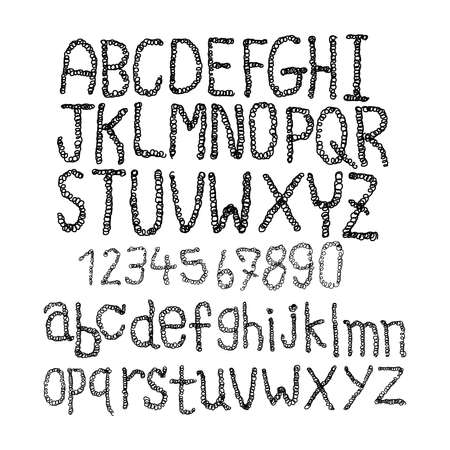 verbs: Hand drawn sketched classic with curve lines font, vector sketch style alphabet. Illustration