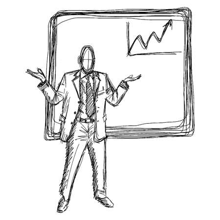 tendency: hand drawn doodles of businessman and white board with up chart graph Illustration