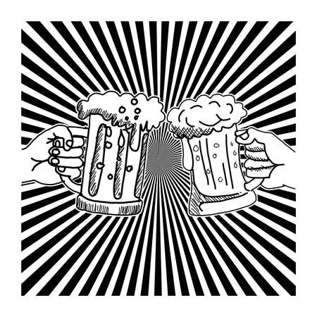 hand drawn doodles two hands toasting glasses of beer with ray burst. Business successful and partnership concept. flat design. vector illustration
