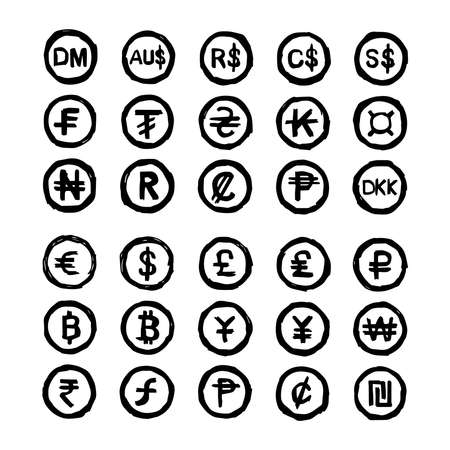 int: illustration vector hand drawn doodles international currency symbols isolated on white background