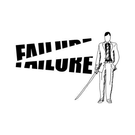 samurai sword: illustration vector hand drawn doodles of businessman cutting the word FAILURE with samurai sword, motivation business concept