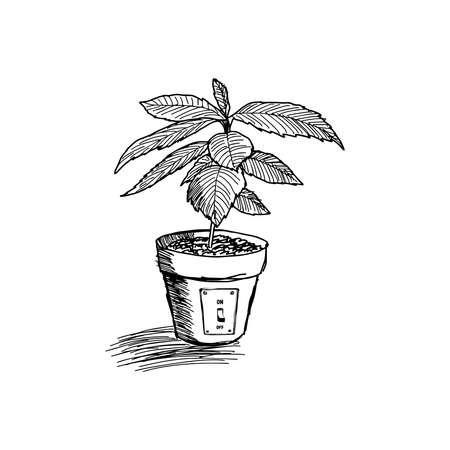 switch off: hand drawn doodles sketch of tree growing in pot which has switch off sign, saving environment concept Illustration