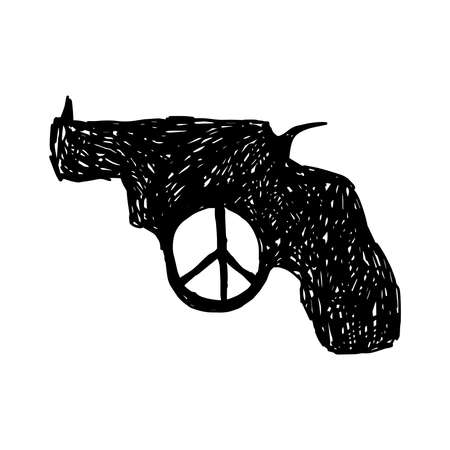 illustration vector hand drawn doodles of revolver with peace sign at the trigger Vectores