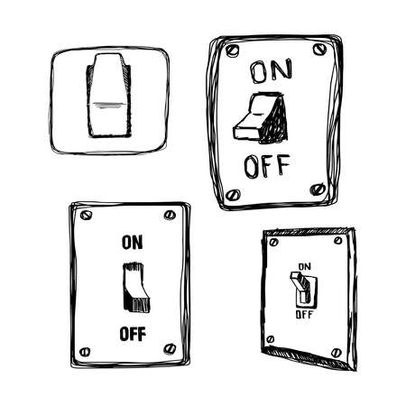 light switch: illustration vector hand drawn doodles single wall light switch Illustration