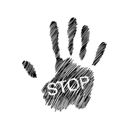 illustration vector hand drawn doodles of Hand raised with the word STOP 向量圖像