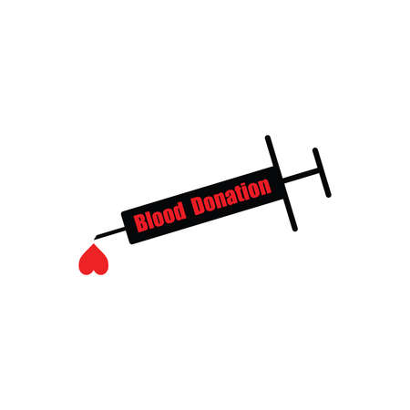 charity drive: illustration vector black syringe with word BLOOD DONATION and heart shape blood Illustration