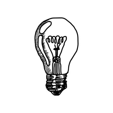 illustration vector hand drawn doodles of light bulb icon with concept of idea