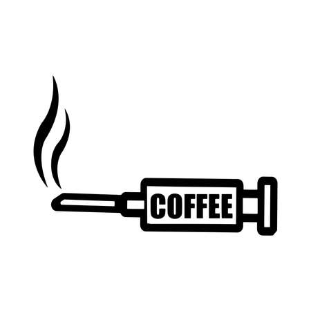 caffeine: illustration vector black syringe with word COFFEE and smoke at the end of the needle, caffeine addiction concept Illustration