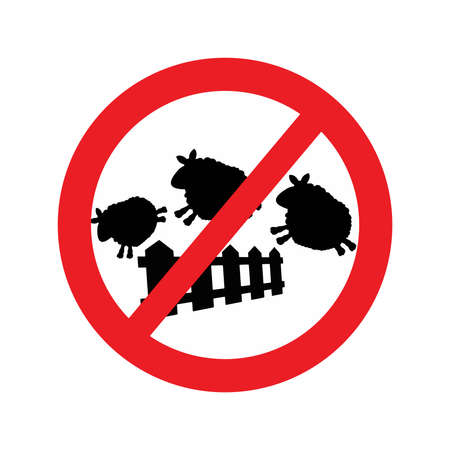 sheep warning: illustration vector of sheep jumping over a fence with Red forbidden traffic sign. The sign forbit the sheep jumping over the fence that make driver falling asleep.