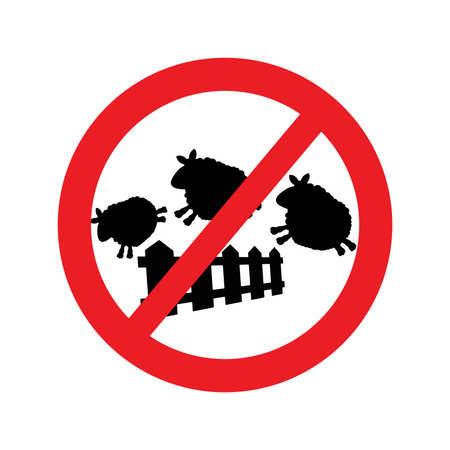 salto de valla: ilustraci�n vectorial de ovejas saltando sobre una cerca con Red se�al de tr�fico prohibido. El signo forbit la ovejas saltando encima de la valla que hacen controlador para conciliar el sue�o. Vectores