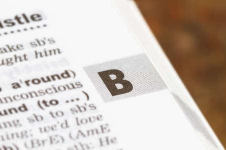 closeup letter B in dictionary, soft focus, Foto de archivo