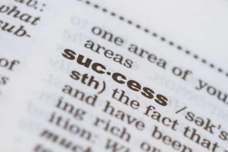 closeup word success in dictionary, soft focus, Foto de archivo