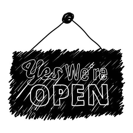 illustration vector hand drawn doodles of word 'Yes We're Open'  isolated on white background Vectores