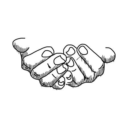 that: illustration vector hand drawn doodles of  hands hold blank space that you can put anything into it,  isolated on white background