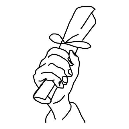 hand holding paper: drawn doodles illustrazione vettoriale mano della mano che regge il rotolo di carta isolato su sfondo bianco