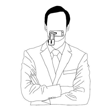 illustration vector hand drawn doodles of businessman lock his mouth isolated on white background
