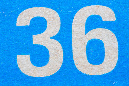 number 36: Close-up number 36 on the blue box
