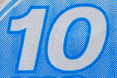 number 10: Close-up number 10 on the blue box Stock Photo