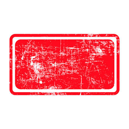 red rectangular grunge stamp with blank siolated on white background