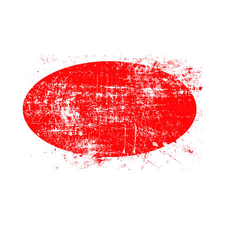 red ellipse grunge stamp with blank siolated on white background
