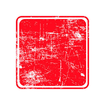 red square grunge stamp with blank siolated on white background