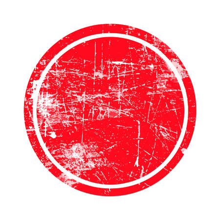 red and white: red circle grunge stamp with blank siolated on white background