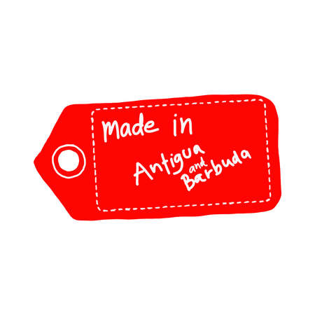 illustration vector hand drawn doodles of red price tag or label with white word Made in Antigua and Barbuda isolated on white background