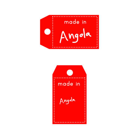 internationally: red price tag or label with white word Made in Angola isolated on white background .